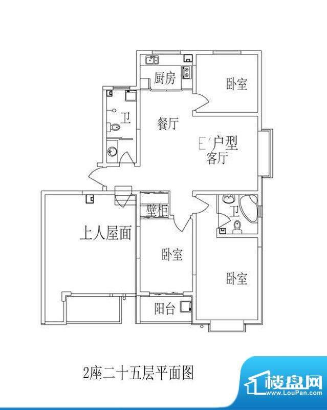 时尚公馆户型图2号楼E'户型 3面积:124.05平米