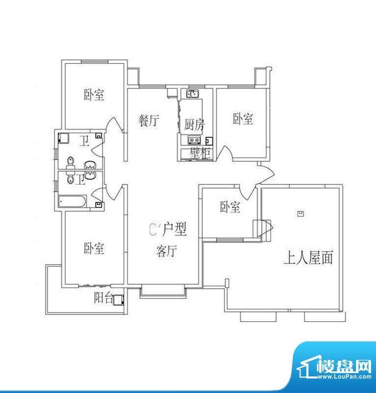 时尚公馆户型图2号楼C'户型 4面积:156.84平米