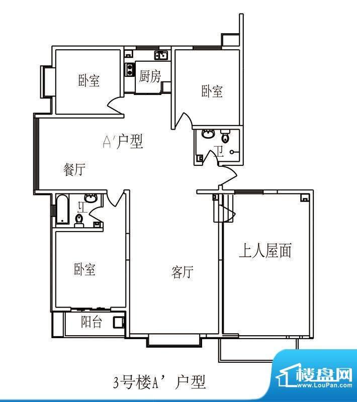 时尚公馆户型图3号楼25层西楼头面积:171.90平米