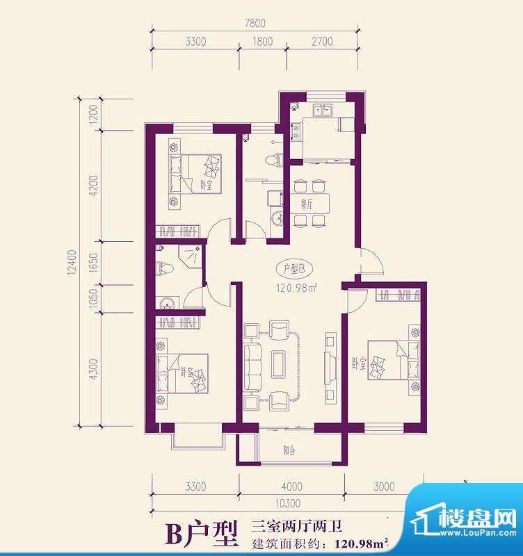 都市新城户型图B户型 3室2厅2卫面积:120.98平米