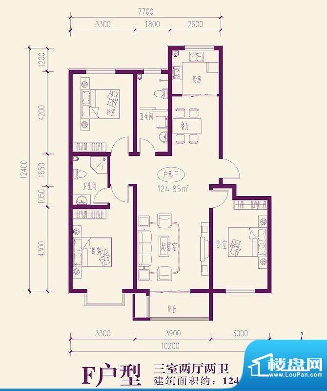 都市新城户型图F户型 3室2厅2卫面积:124.86平米