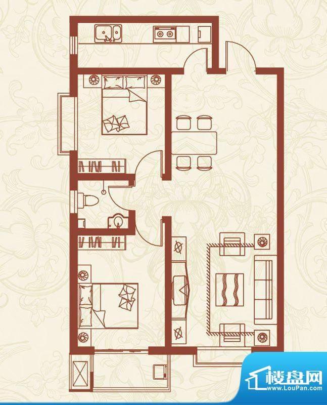 亚龙湾户型图H户型 2室2厅1卫1面积:94.00平米