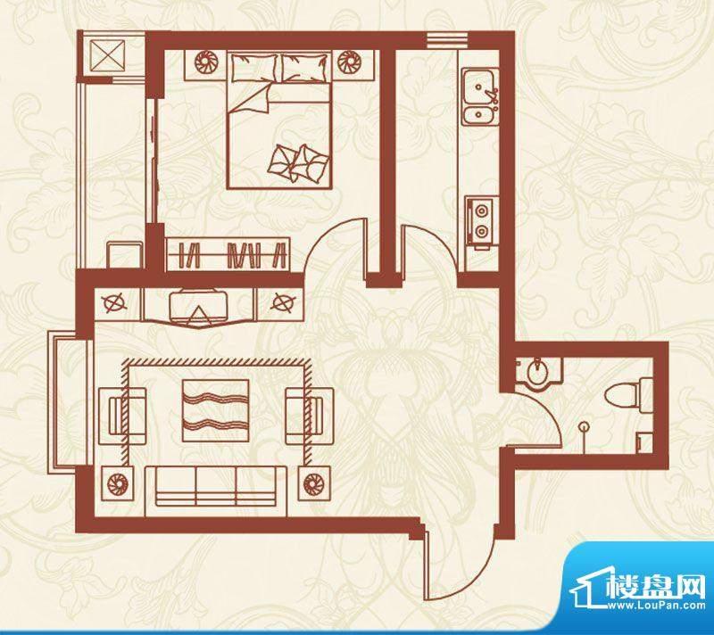 亚龙湾户型图G户型 1室1厅1卫1面积:56.00平米