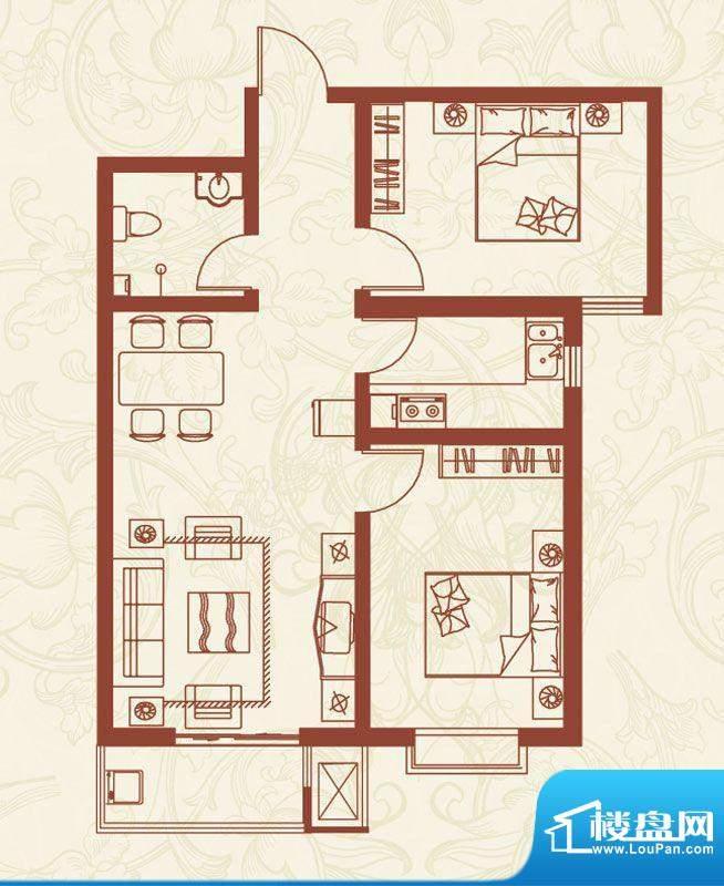 亚龙湾户型图I户型 2室2厅1卫1面积:85.86平米