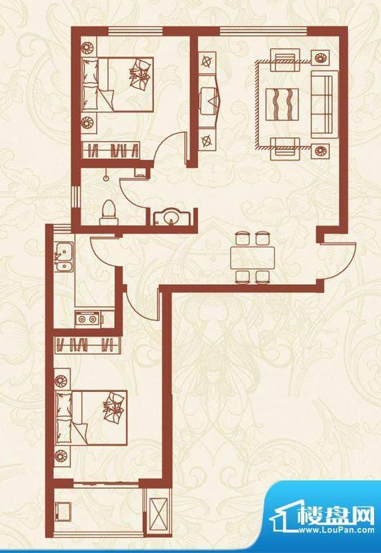 亚龙湾户型图K户型 2室2厅1卫1面积:91.37平米