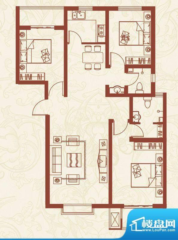 亚龙湾户型图J户型 3室2厅2卫1面积:124.27平米