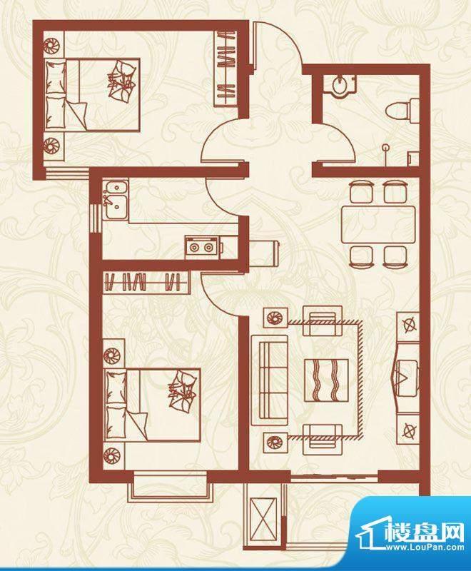 亚龙湾户型图L户型 2室2厅1卫1面积:84.00平米
