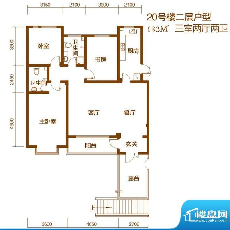 西山庭院二期花石匠户型图20号面积:132.00平米