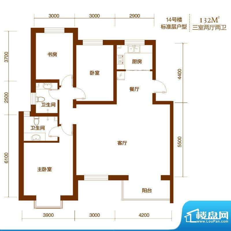 西山庭院二期花石匠户型图14号面积:132.00平米