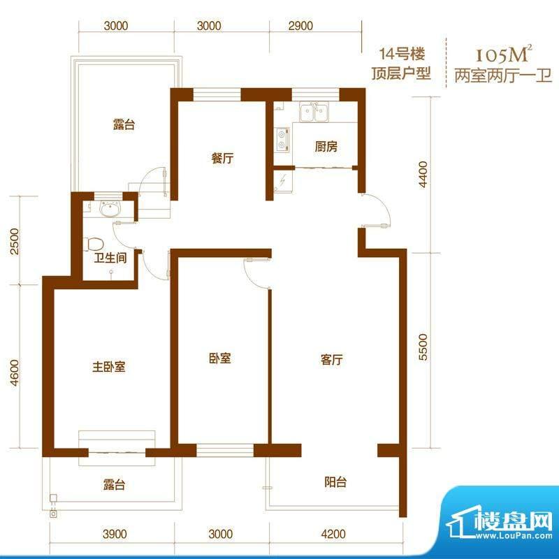 西山庭院二期花石匠户型图14号面积:105.00平米