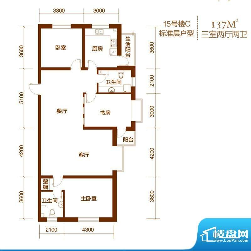 西山庭院二期花石匠户型图15号面积:137.00平米