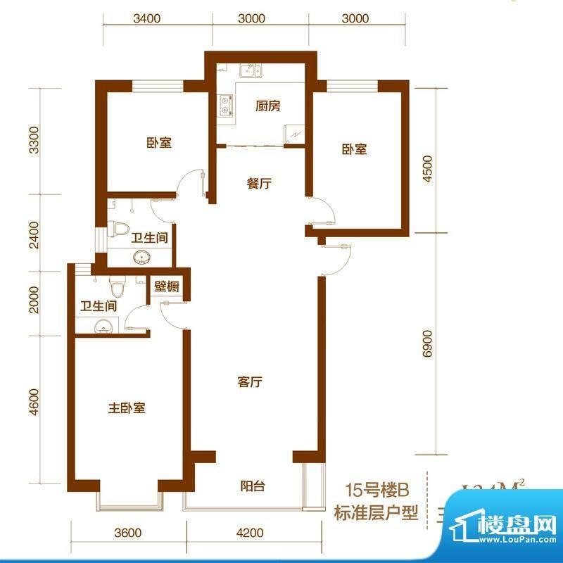 西山庭院二期花石匠户型图15号面积:124.00平米