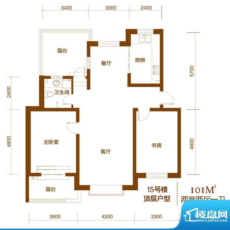 西山庭院二期花石匠户型图15号面积:101.00平米