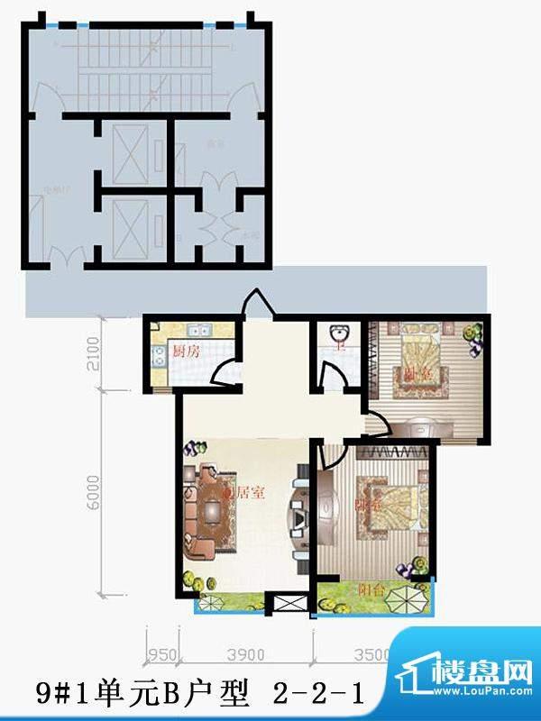 天润家园户型图9#1单元B户型 2面积:91.12平米