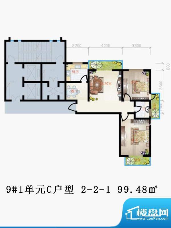 天润家园户型图9#1单元C户型 2面积:99.48平米