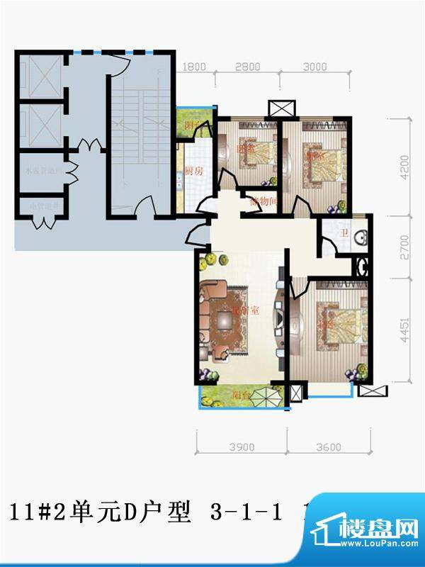 天润家园户型图11#2单元D户型 面积:119.44平米