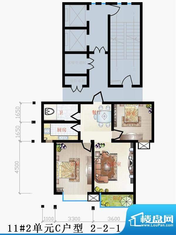 天润家园户型图11号楼2单元C户面积:90.00平米