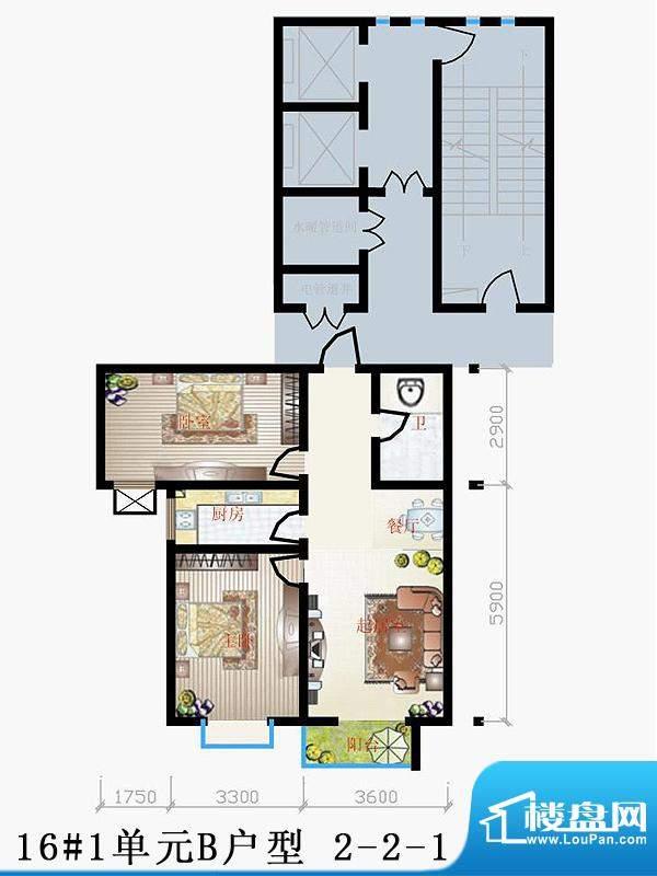 天润家园户型图16#1单元B户型 面积:89.02平米