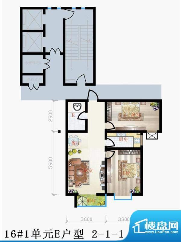 天润家园户型图16#1单元E户型 面积:89.02平米
