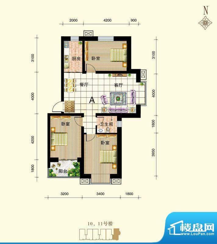 御景东城户型图单-A户型 3室2厅面积:101.10平米