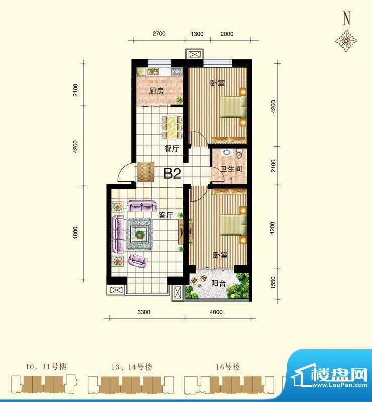 御景东城户型图单-B2户型 2室2面积:89.93平米