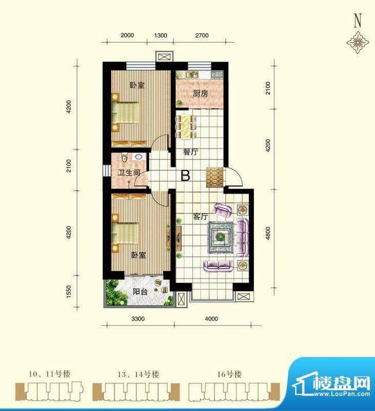 御景东城户型图单-B户型 2室2厅面积:90.36平米