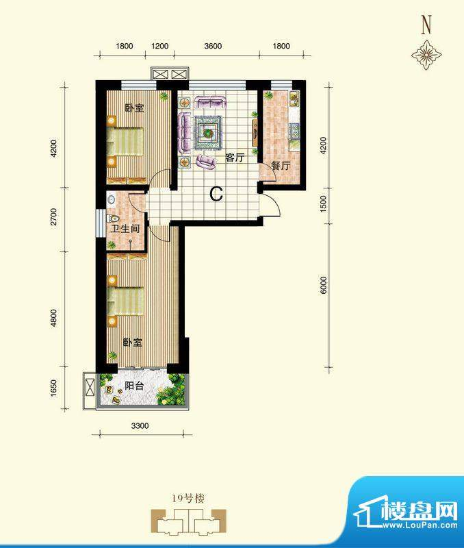 御景东城户型图单-C户型 2室1厅面积:81.48平米