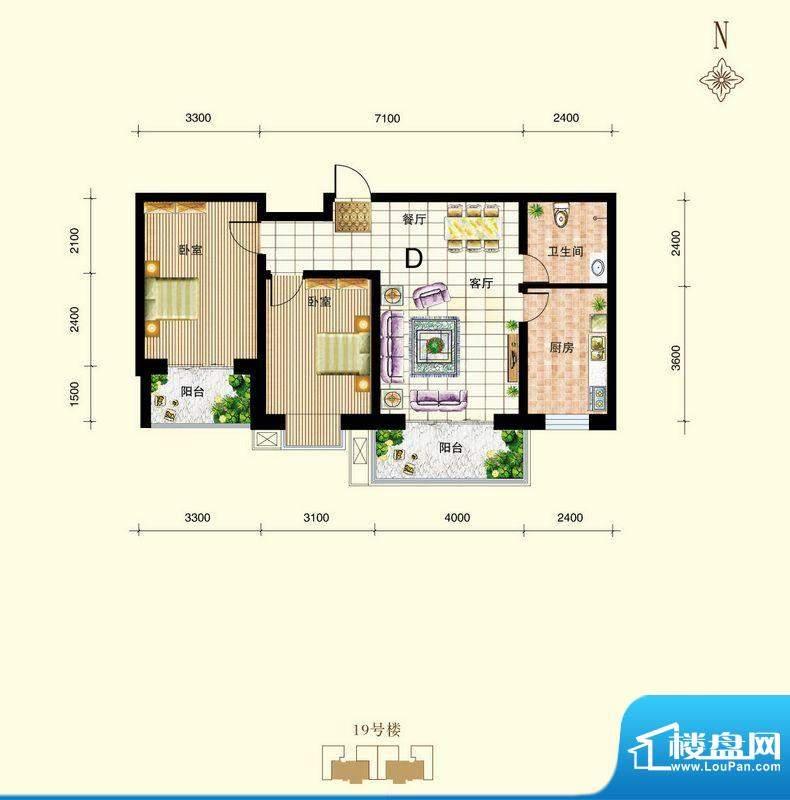 御景东城户型图单-D户型 2室2厅面积:93.87平米