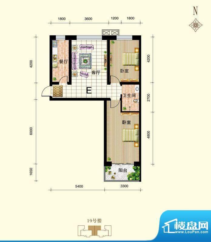 御景东城户型图单-E户型 2室1厅面积:83.96平米