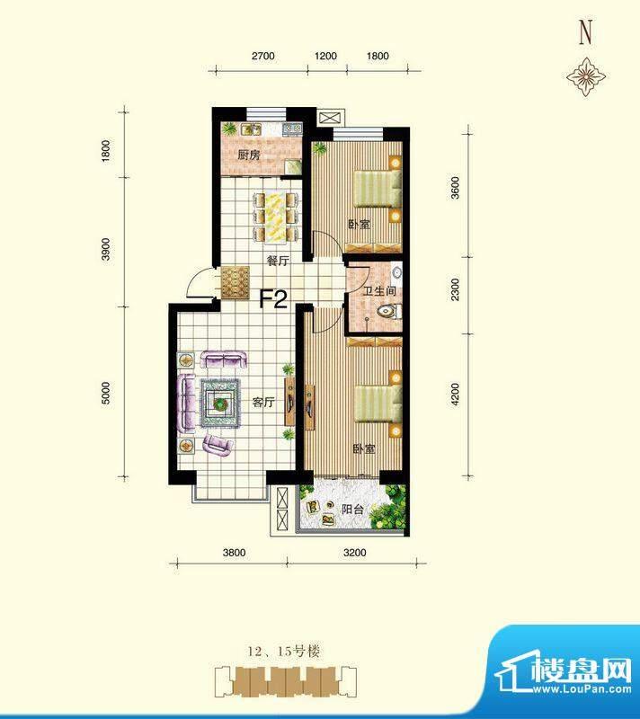 御景东城户型图单-F2户型 2室2面积:84.64平米