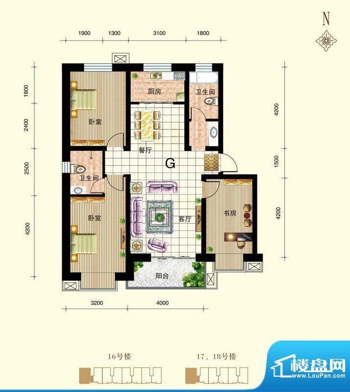 御景东城户型图单-G户型 3室2厅面积:114.06平米
