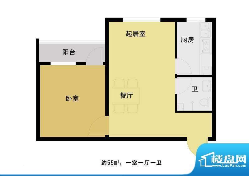 丰河苑二期户型图A户型 1室1厅面积:56.00平米