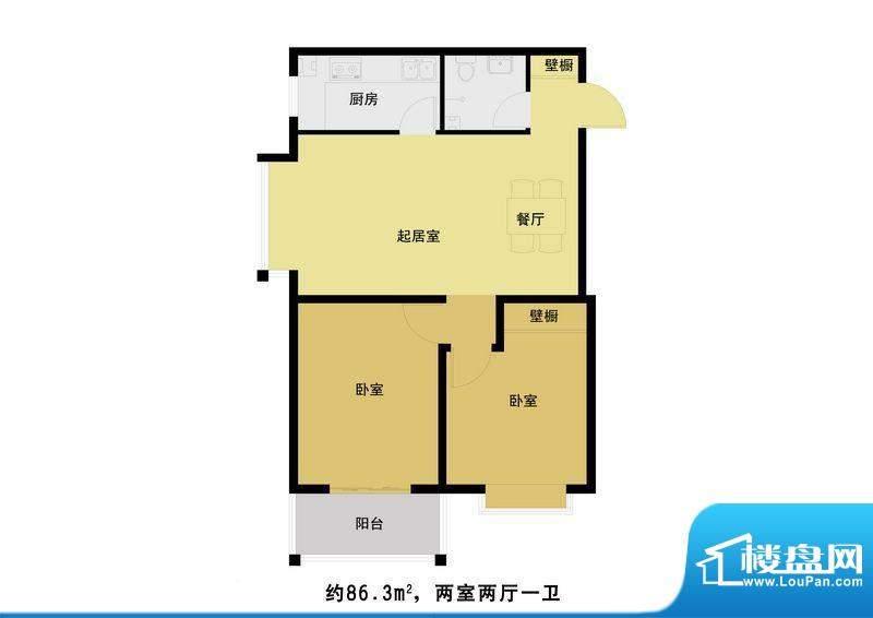 丰河苑二期户型图B户型 2室2厅面积:90.00平米