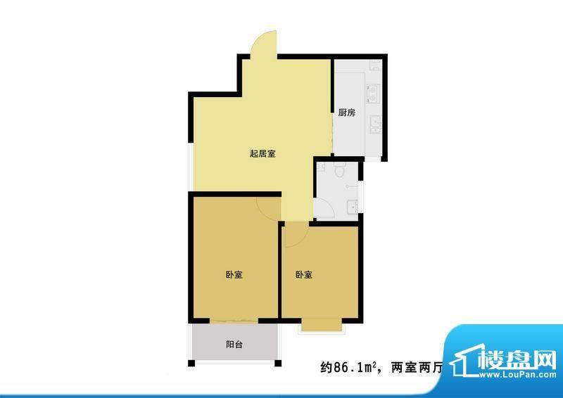丰河苑二期户型图C1户型 2室2厅面积:90.00平米