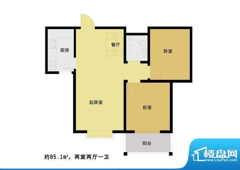 丰河苑二期户型图C户型 2室2厅面积:87.00平米