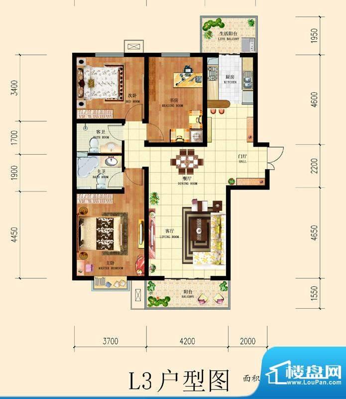 和平时光户型图8号楼-L3户型 3面积:139.88平米