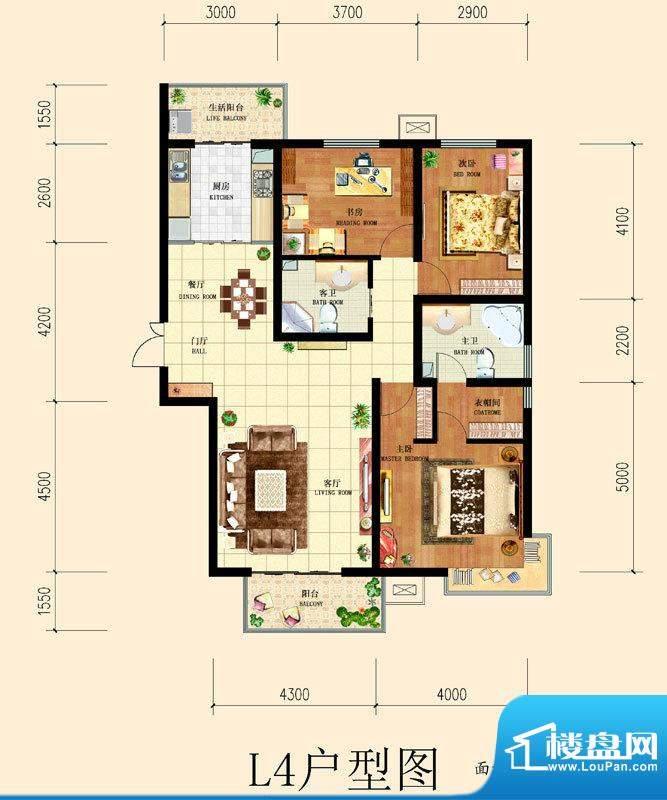 和平时光户型图8号楼-L4户型 3面积:138.83平米