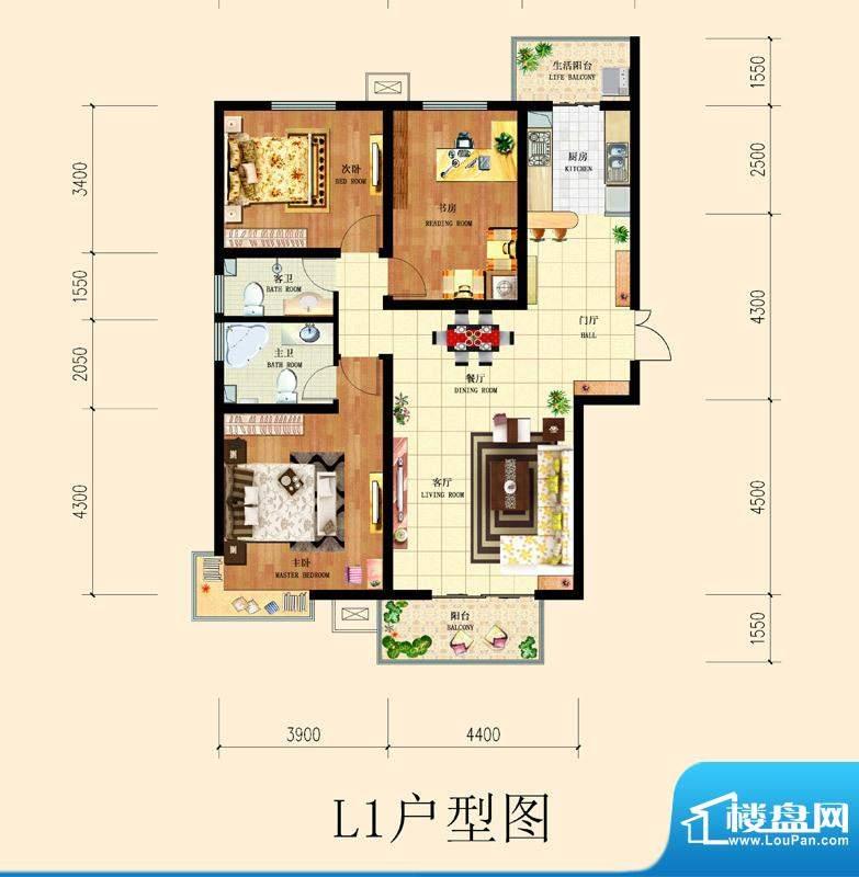 和平时光户型图8号楼-L1户型 3面积:138.28平米