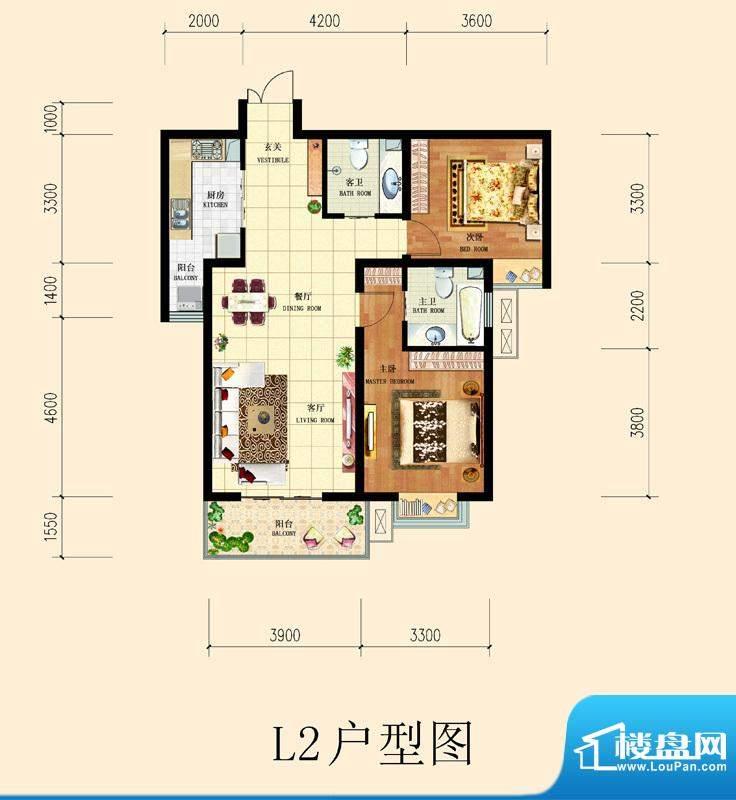 和平时光户型图8号楼-L2户型 2面积:104.23平米