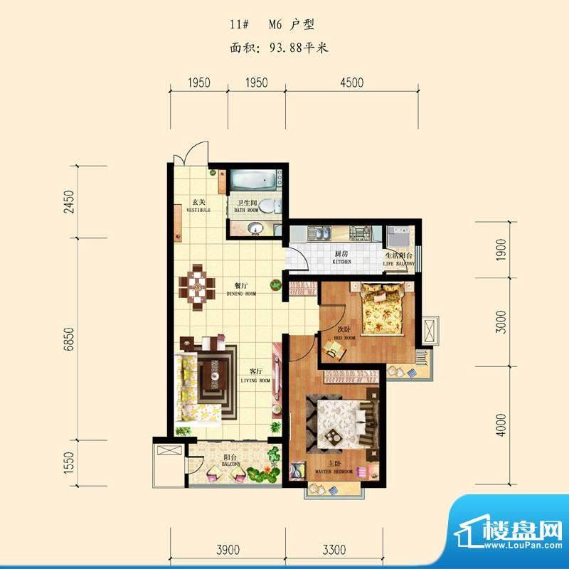 和平时光户型图11-M6 2室2厅1卫面积:93.88平米