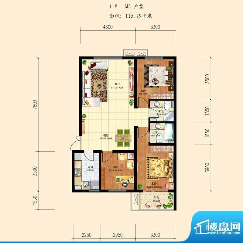 和平时光户型图11-M5 3室2厅2卫面积:115.79平米