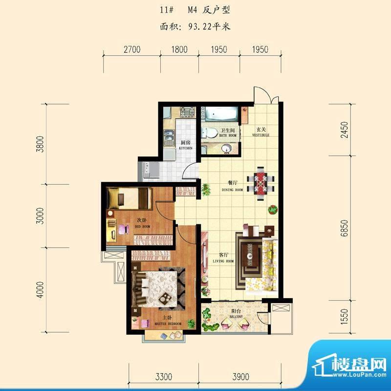 和平时光户型图11-M4反 2室2厅面积:93.22平米