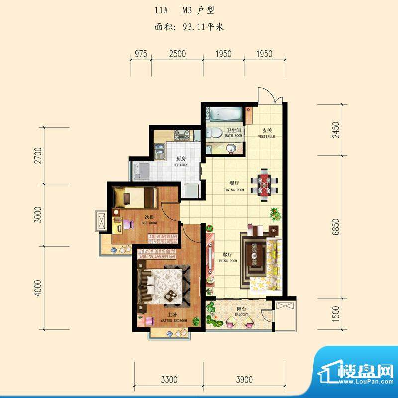 和平时光户型图11-M3 2室2厅1卫面积:93.11平米
