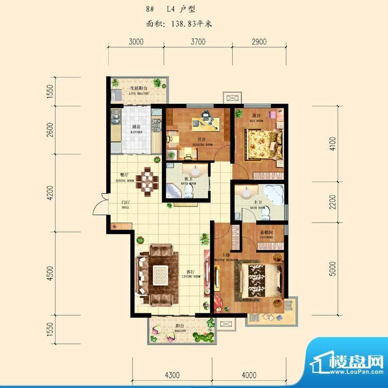 和平时光户型图8-L4 3室2厅2卫面积:138.83平米
