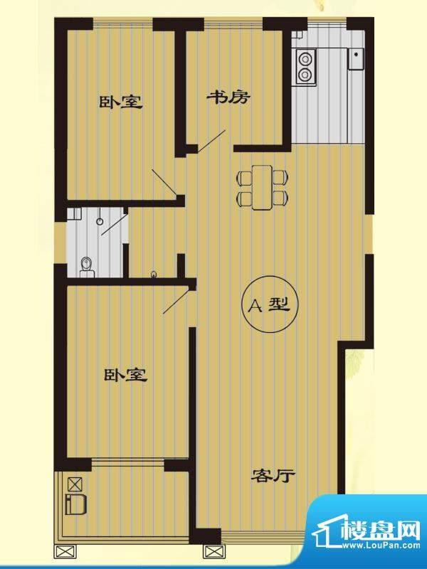 树林新村户型图A户型 3室2厅1卫面积:118.39平米