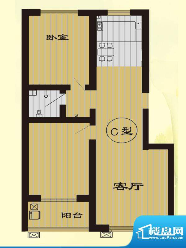 树林新村户型图C户型 2室2厅1卫面积:98.65平米