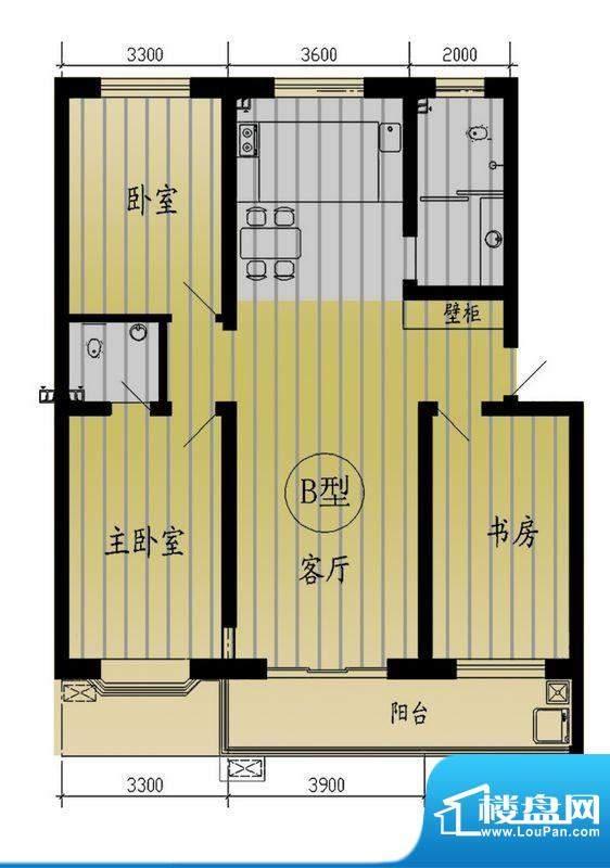 树林新村户型图户型B 3室2厅2卫面积:137.28平米