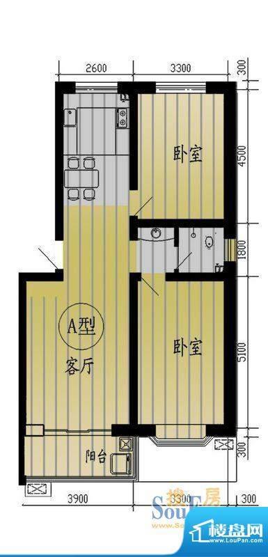 树林新村户型图户型A(售完) 面积:96.50平米