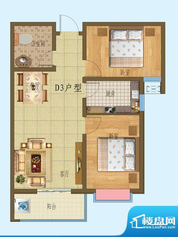 锦融尚御户型图23#一单元D3户型面积:88.58平米