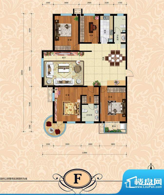 天水丽城户型图一期F户型 4室2面积:223.00平米
